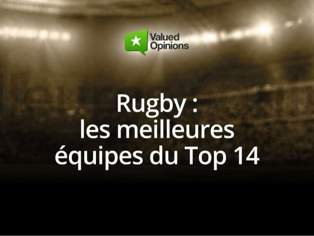 Rugby: les meilleures equipes du top 14