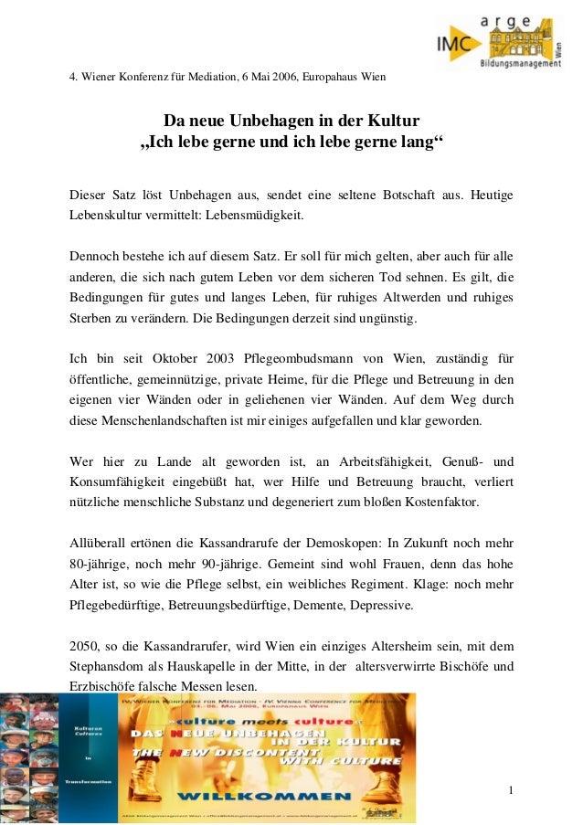 """4. Wiener Konferenz für Mediation, 6 Mai 2006, Europahaus Wien  Da neue Unbehagen in der Kultur """"Ich lebe gerne und ich le..."""