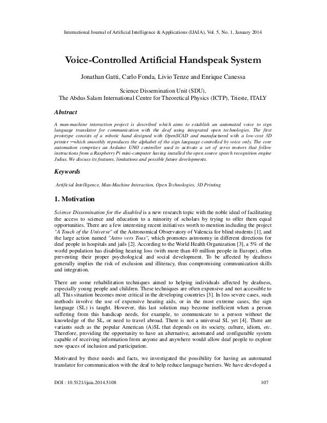 International Journal of Artificial Intelligence & Applications (IJAIA), Vol. 5, No. 1, January 2014  Voice-Controlled Art...