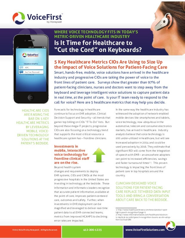 """WHERE VOICE TECHNOLOGY FITS IN TODAY'S METRIC-DRIVEN HEALTHCARE INDUSTRY  Is It Time for Healthcare to """"Cut the Cord"""" on K..."""