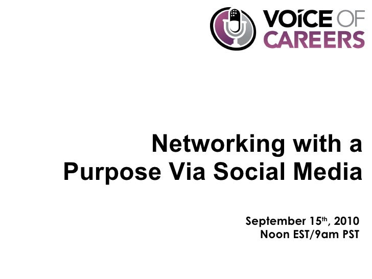Networking with a Purpose Via Social Media September 15 th , 2010 Noon EST/9am PST