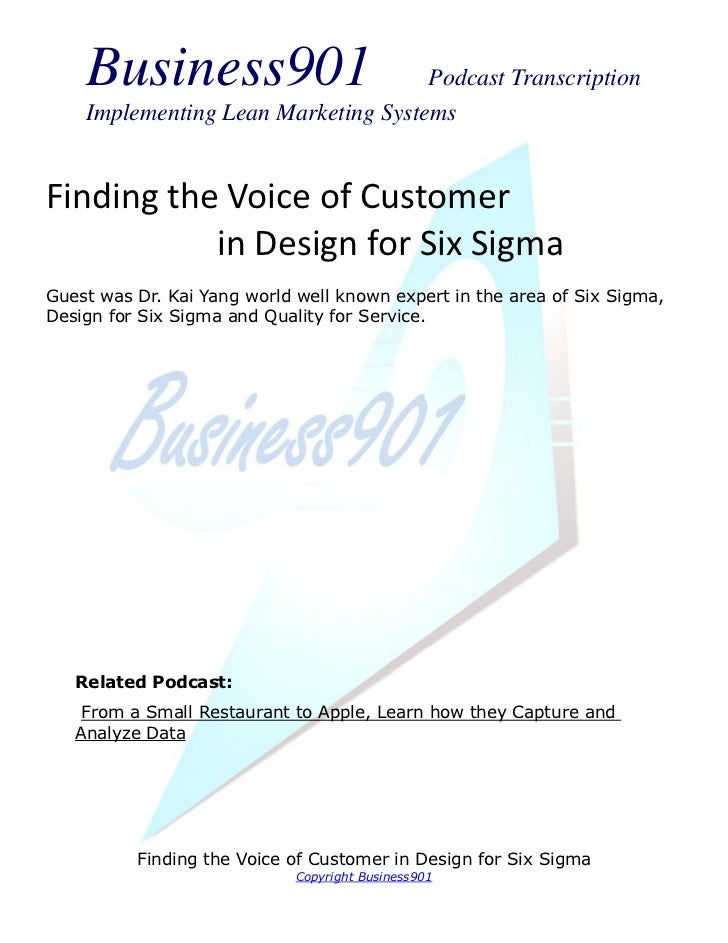 Business901                      Podcast Transcription    Implementing Lean Marketing SystemsFinding the Voice of Customer...