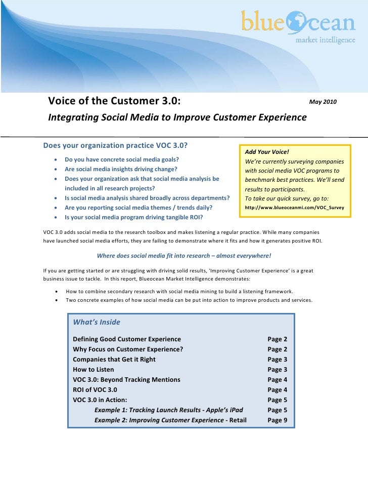 Voice of the Customer 3.0:                                                                                     May 2010   ...