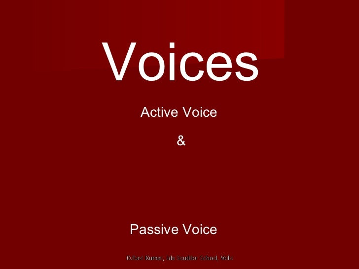 Voices Active Voice  & Passive Voice