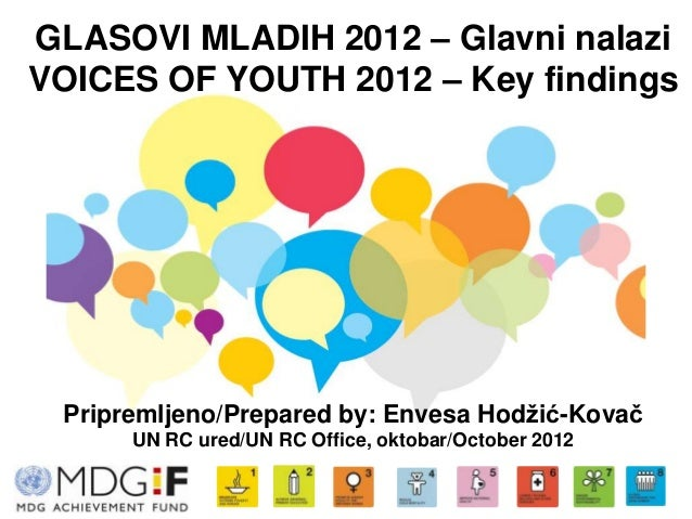GLASOVI MLADIH 2012 – Glavni nalaziVOICES OF YOUTH 2012 – Key findings Pripremljeno/Prepared by: Envesa Hodžić-Kovač      ...