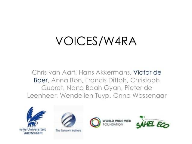 VOICES/W4RA Chris van Aart, Hans Akkermans, Victor de Boer, Anna Bon, Francis Dittoh, Christoph Gueret, Nana Baah Gyan, Pi...