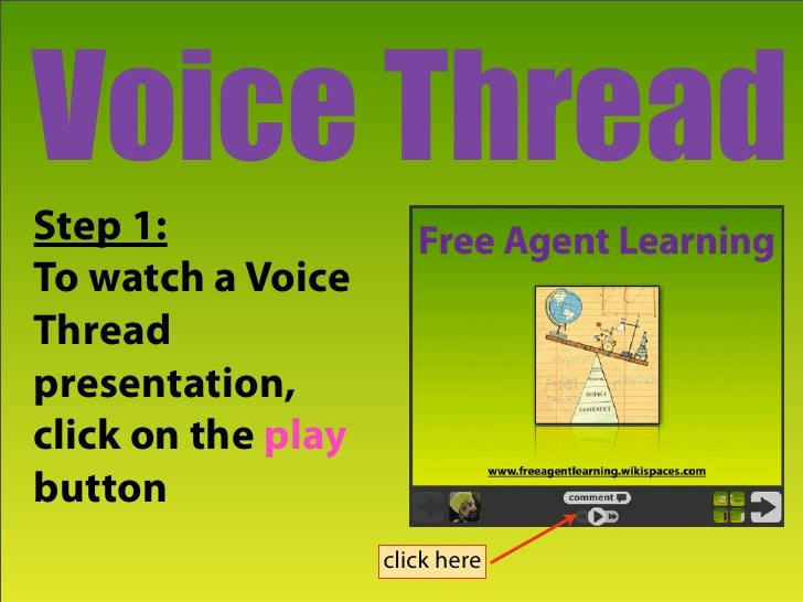 Voice Thread Step 1: To watch a Voice Thread presentation, click on the play button                     click here