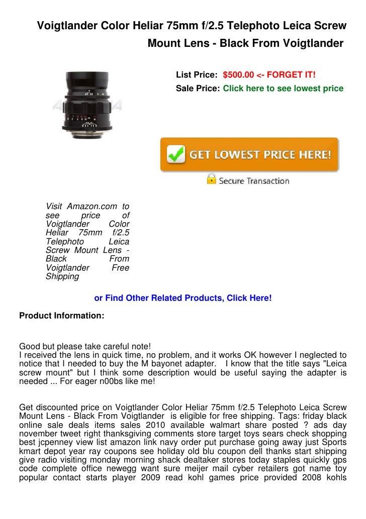 Voigtlander Color Heliar 75mm