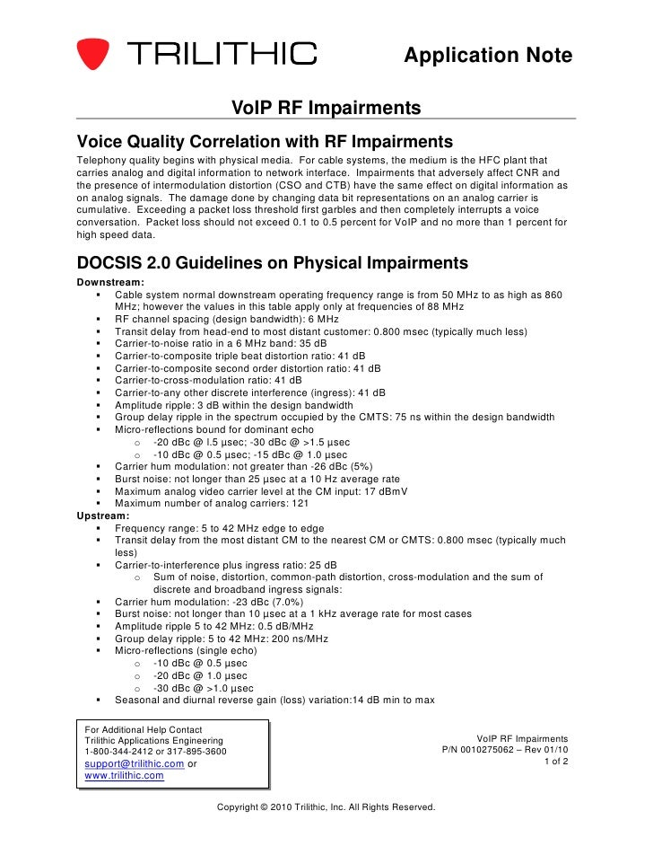 Application Note                                      VoIP RF ImpairmentsVoice Quality Correlation with RF ImpairmentsTele...