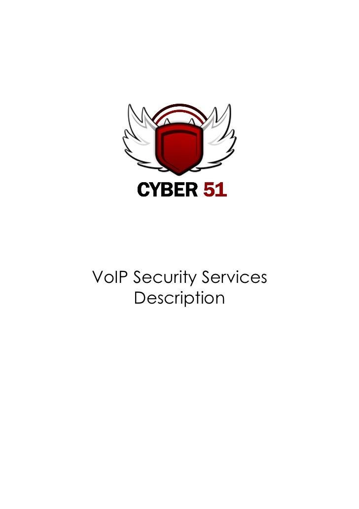 VoIp Security Services Technical Description Cyber51