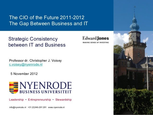 The CIO of the Future 2011-2012The Gap Between Business and ITStrategic Consistencybetween IT and BusinessProfessor dr. Ch...