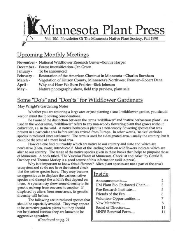 Fall 1990 Minnesota Plant Press