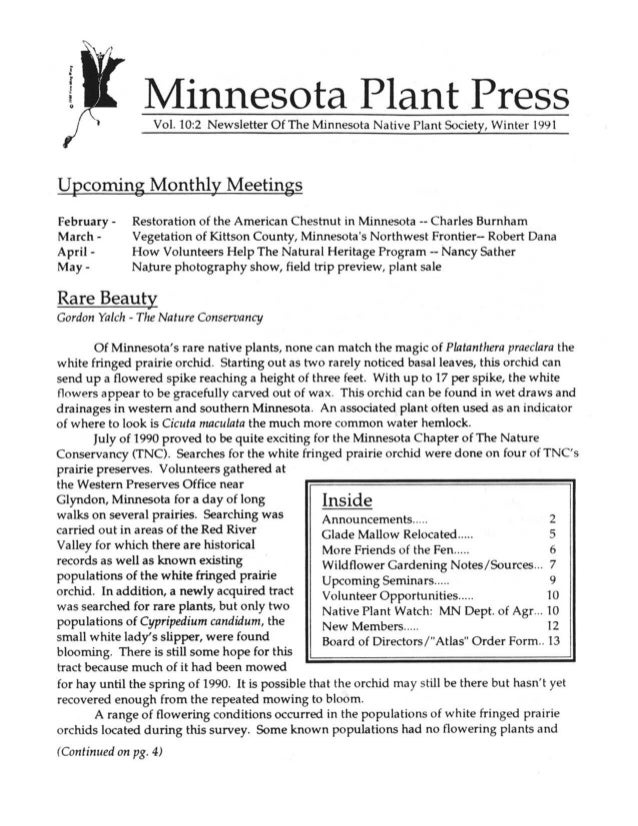 Winter 1991 Minnesota Plant Press