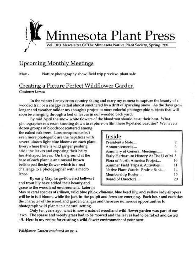 Spring 1991 Minnesota Plant Press