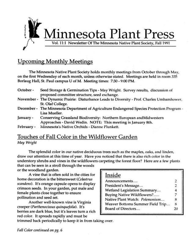 Fall 1991 Minnesota Plant Press