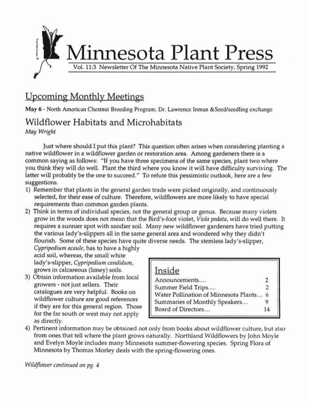 Spring 1992 Minnesota Plant Press