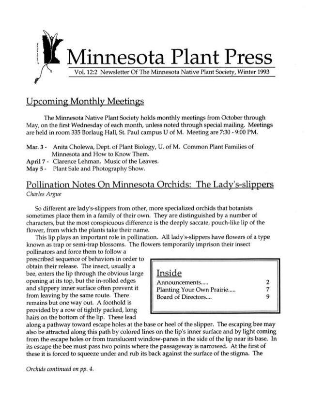 Winter 1993 Minnesota Plant Press
