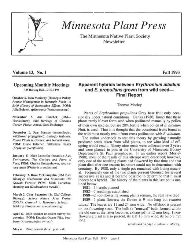 Fall 1993 Minnesota Plant Press