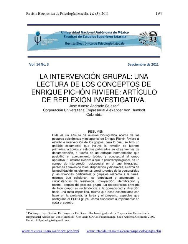 Revista Electrónica de Psicología Iztacala. 14, (3), 2011                                           194      Vol. 14 No. 3...