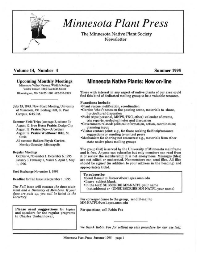 Summer 1995 Minnesota Plant Press