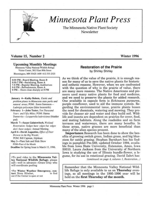 Winter 1996 Minnesota Plant Press