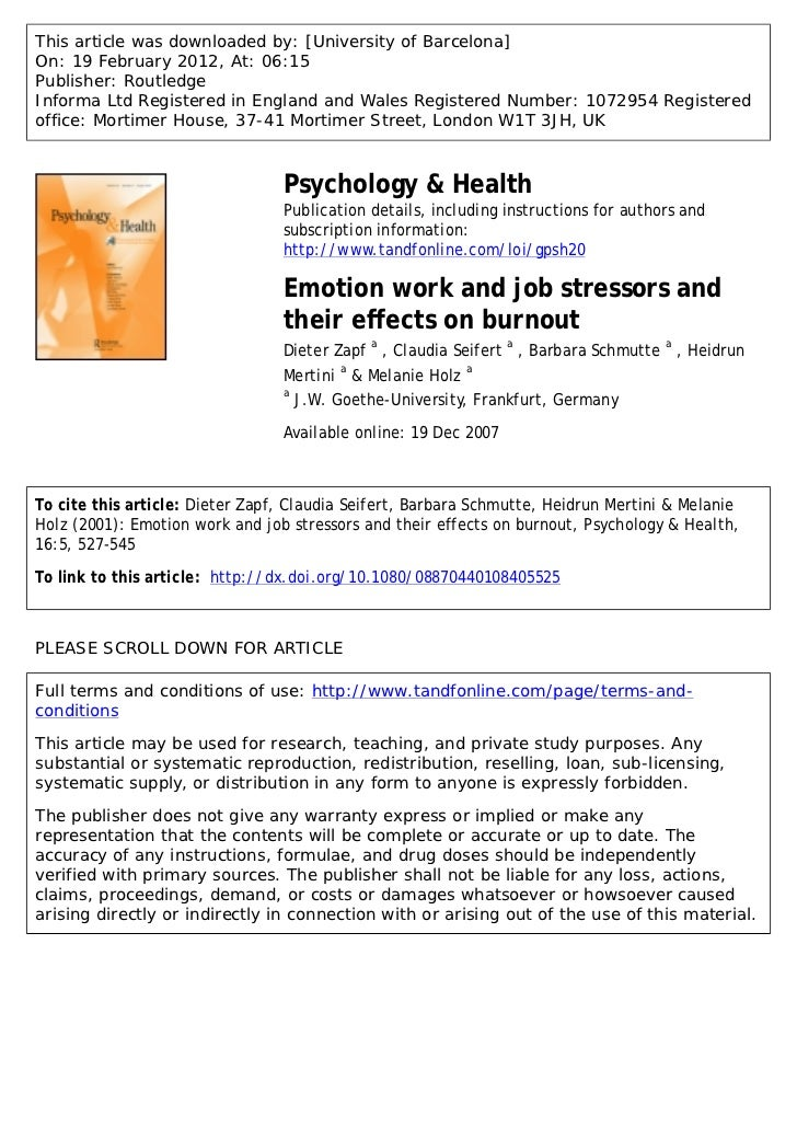 Emotion work and job stressors and their effects on burnout.