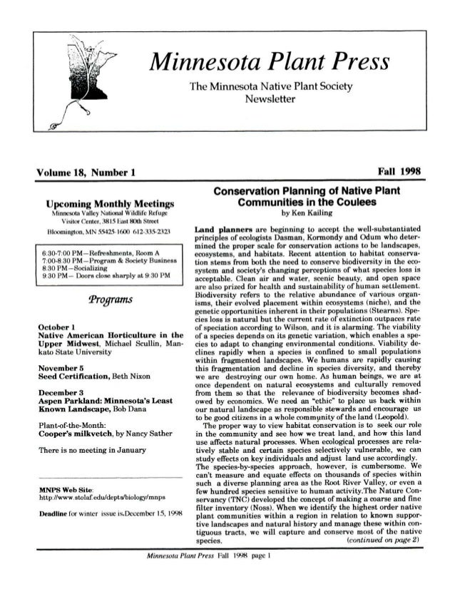 Fall 1998 Minnesota Plant Press