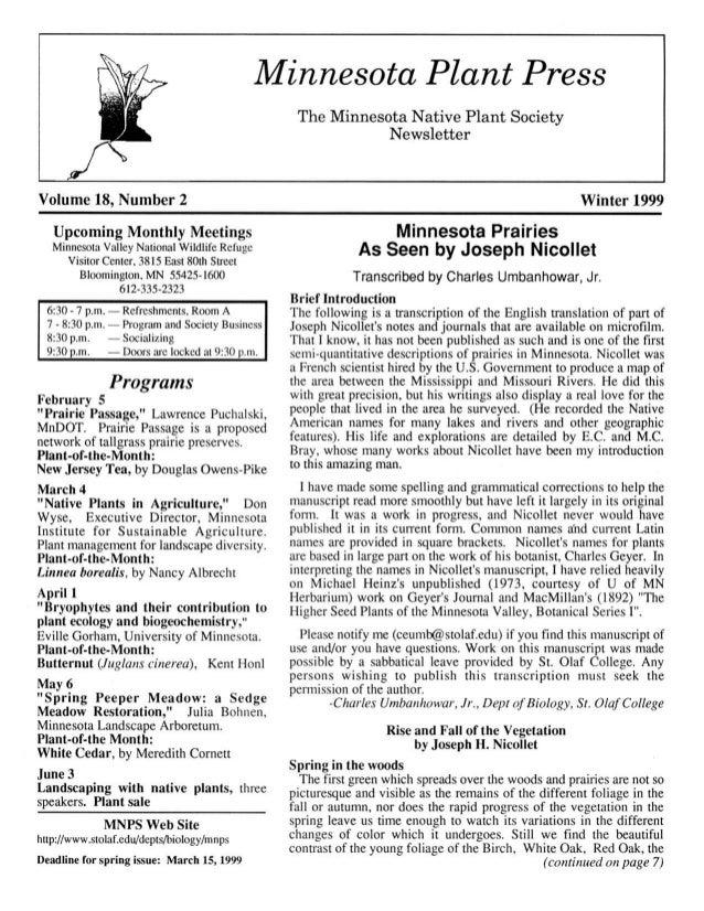 Winter 1999 Minnesota Plant Press