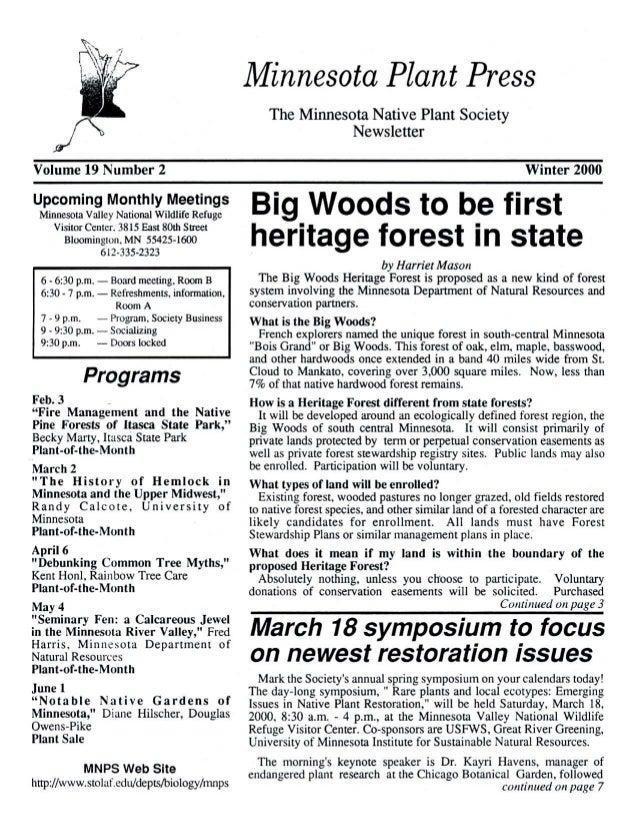 Winter 2000 Minnesota Plant Press