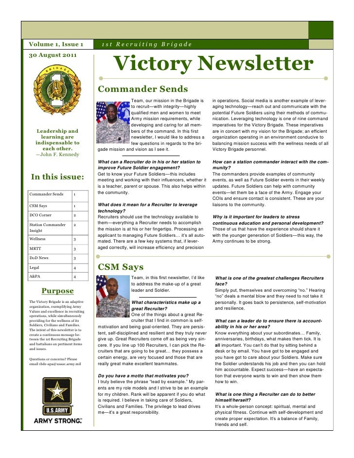 Volume 1, Issue 1                       1st Recruiting Brigade                                              Victory Newsle...