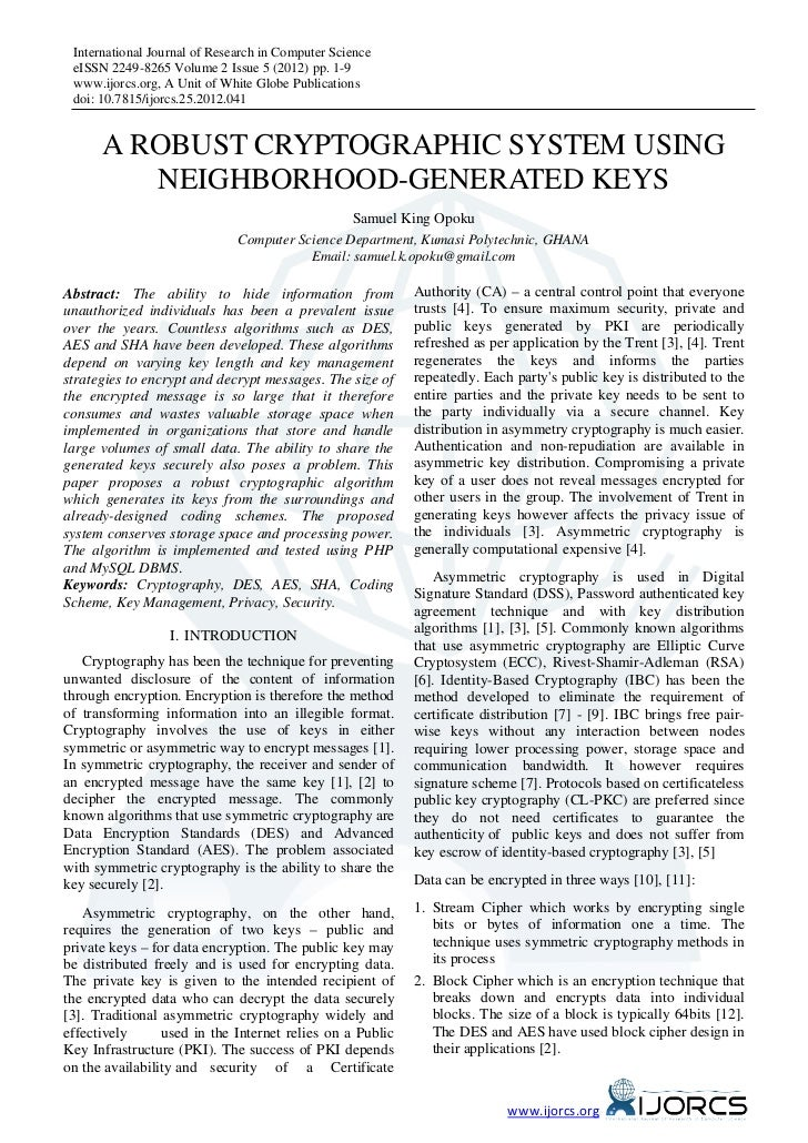 A Robust Cryptographic System using Neighborhood-Generated Keys