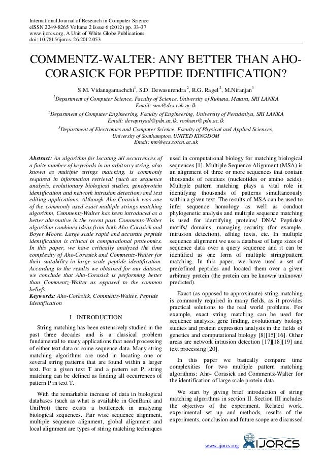 International Journal of Research in Computer ScienceeISSN 2249-8265 Volume 2 Issue 6 (2012) pp. 33-37www.ijorcs.org, A Un...