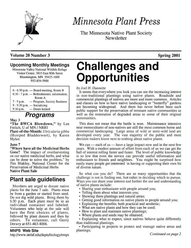 Spring 2001 Minnesota Plant Press