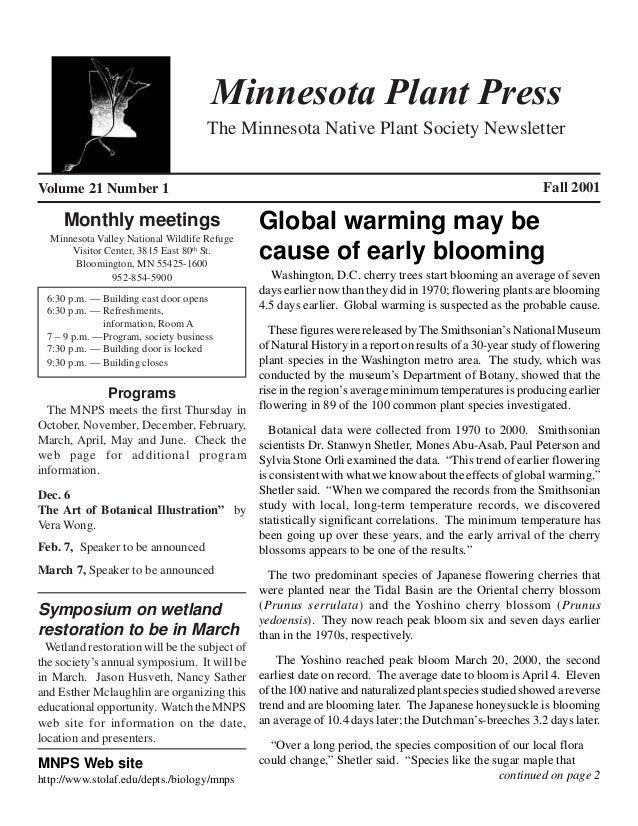 Fall 2001 Minnesota Plant Press
