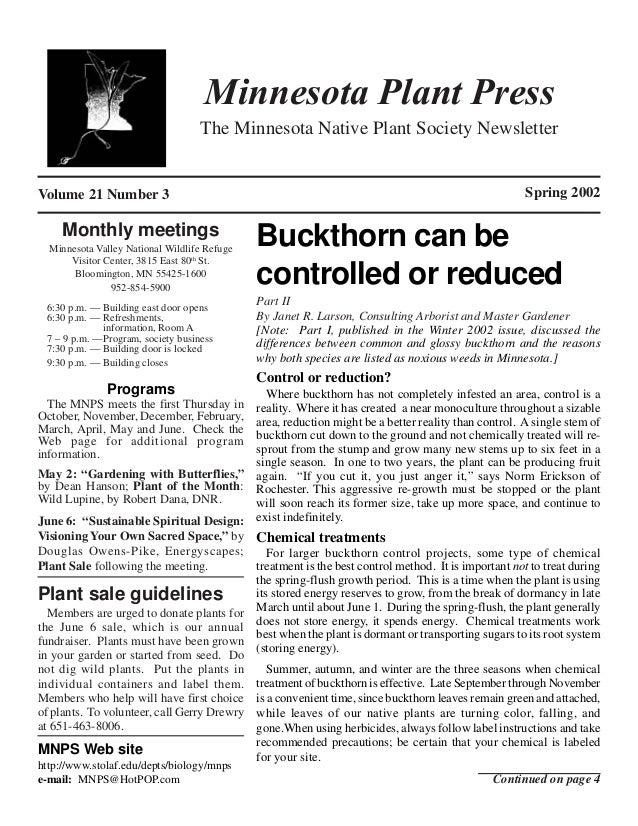 Minnesota Plant Press                                   The Minnesota Native Plant Society NewsletterVolume 21 Number 3   ...