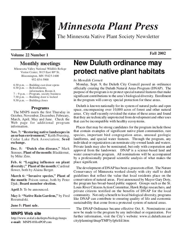 Minnesota Plant Press                                   The Minnesota Native Plant Society NewsletterVolume 22 Number 1   ...