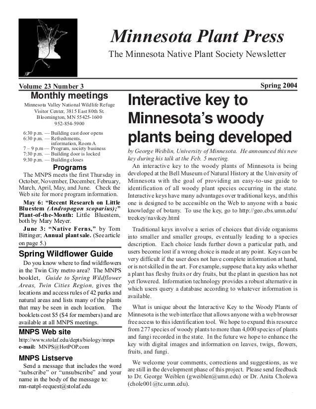 Spring 2004 Minnesota Plant Press