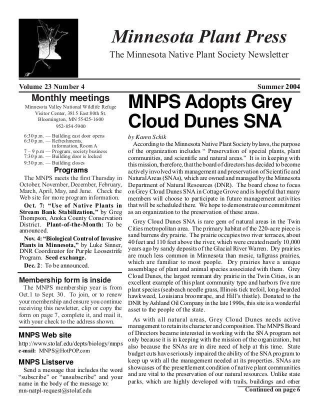 Minnesota Plant Press                                          The Minnesota Native Plant Society NewsletterVolume 23 Numb...