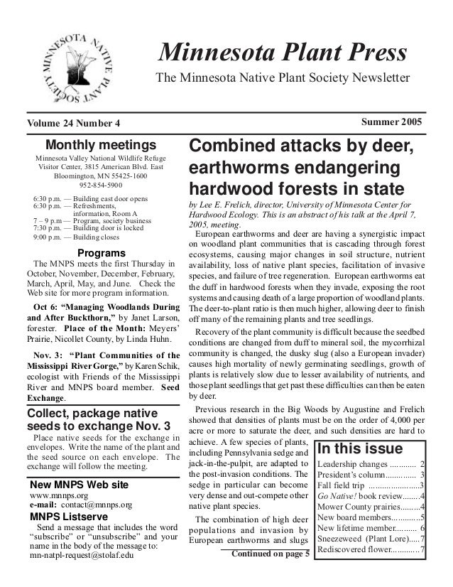 Minnesota Plant Press                                         The Minnesota Native Plant Society NewsletterVolume 24 Numbe...