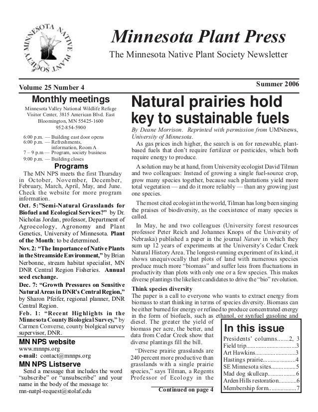 Minnesota Plant Press                                          The Minnesota Native Plant Society NewsletterVolume 25 Numb...