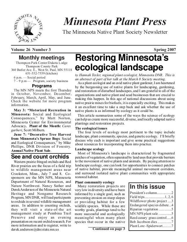 Spring 2007 Minnesota Plant Press
