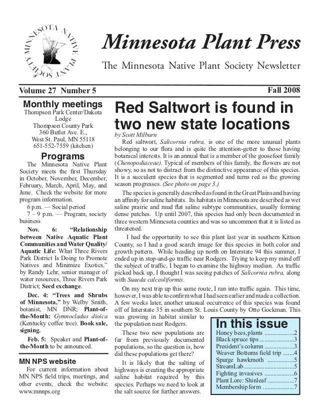 Fall 2008 Minnesota Plant Press