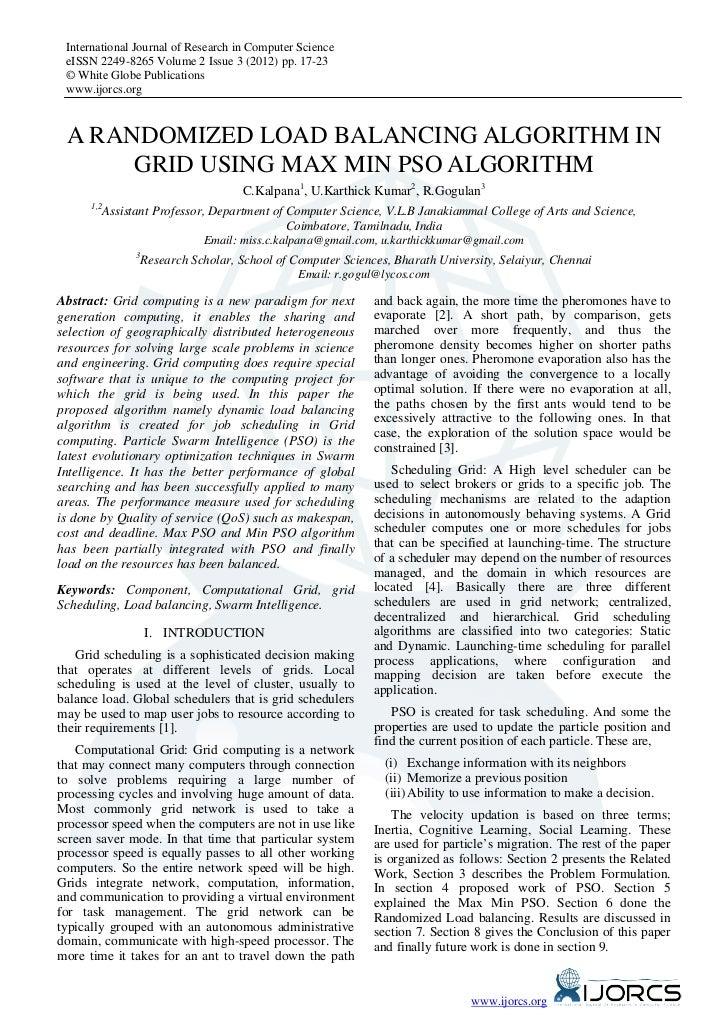 A Randomized Load Balancing Algorithm In Grid using Max Min PSO Algorithm