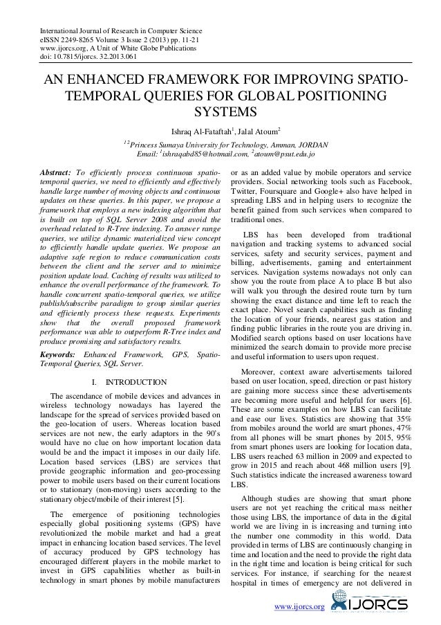 An Enhanced Framework for Improving Spatio-Temporal Queries for Global Positioning Systems