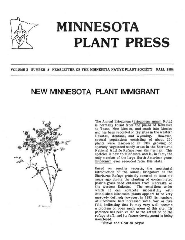 Fall 1984 Minnesota Plant Press