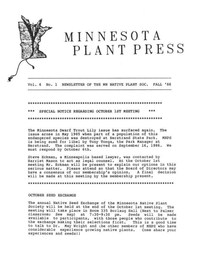 Fall 1986 Minnesota Plant Press