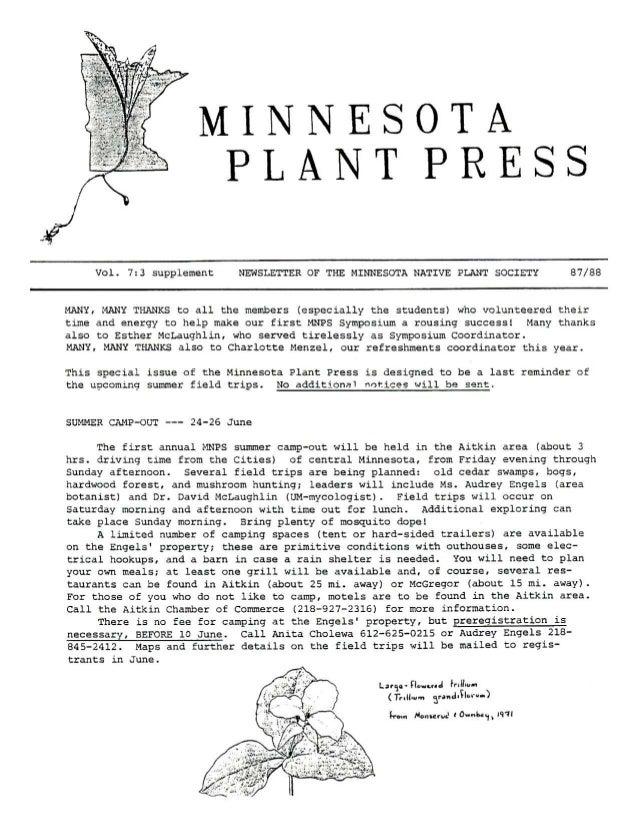 Fall 1987 Minnesota Plant Press