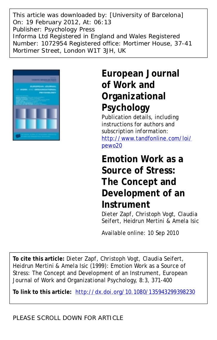 Emotion work as a source of stress: The concept and the development of an instrument.
