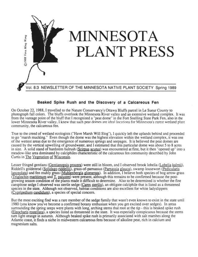 Spring 1989 Minnesota Plant Press