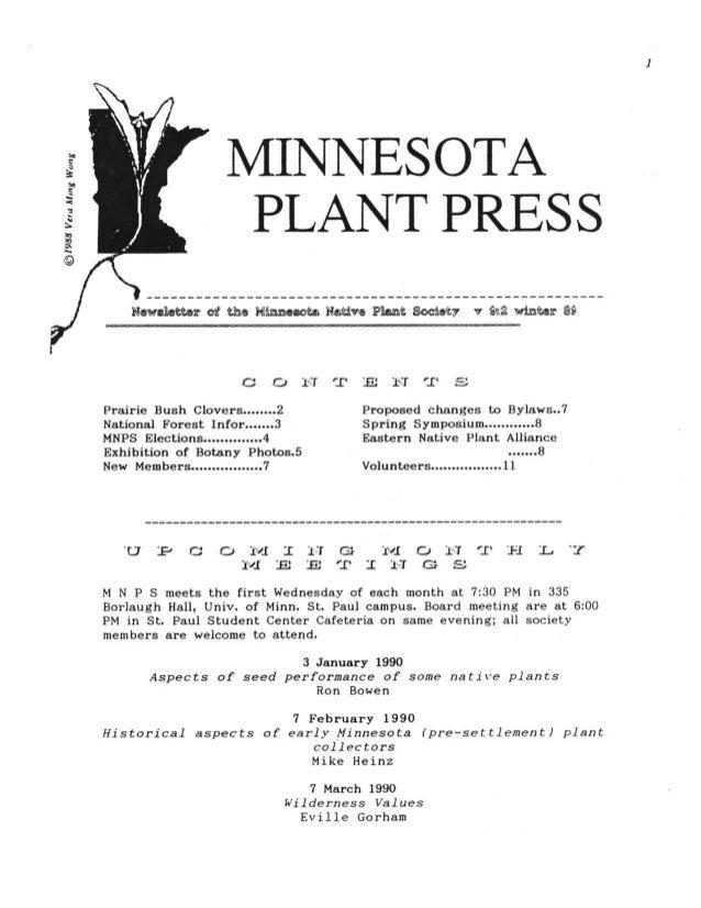Winter 1989 Minnesota Plant Press